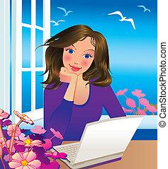 Beautiful businesswoman. Vector art-illustration.