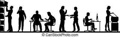 Editable vector silhouettes of people in a busy office with all elements as separate objects
