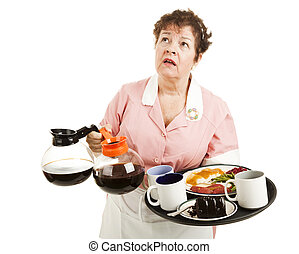Busy overworked waitress carrying her tray and coffee pots. Isolated on white.