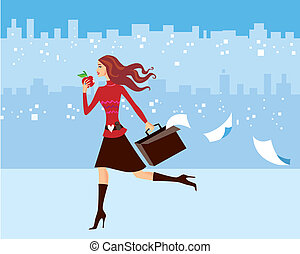 Illustration of a very busy woman, well dressed running in the city, carrying her suitcase and holding an apple. Concepts: busy life, women entrapreneur, busy mom, multitasking, rushing for business meeting.