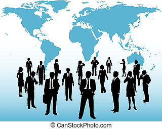 Busy world business people connect under map