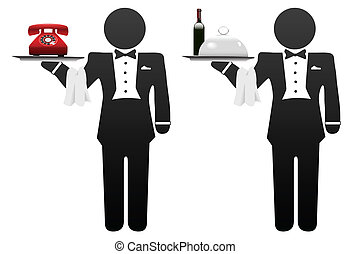 Butler servant or room service waiter delivers food or phone on tray