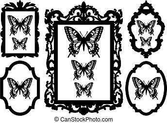 butterflies in antique picture frames, vector illustration