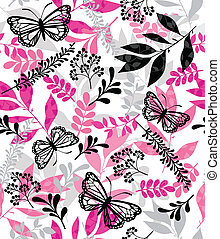Elegant Butterflies and Foliage Leaves Seamless Repeat Pattern Design Vector Illustration