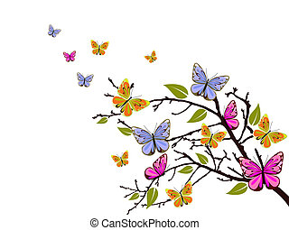 vector illustration of colorful butterflies on a branch
