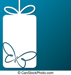 Butterfly cut out tag card in vector format.