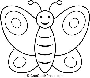 Butterfly outline clipart. Vector coloring book page for children.