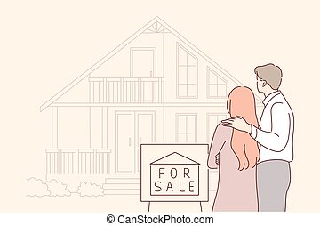 Buy, sale, house, real estate, family concept