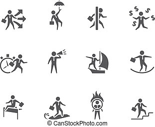 Businessman icon in various activities in single color.