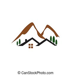 cabin in the woods logo design with mountain and tree vector illustrations
