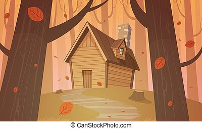 Cabin in woods - Autumn