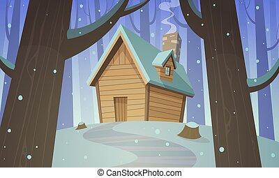 Cabin in woods - Winter