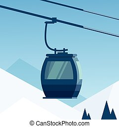 Cable Car Transportation Rope Way Over Winter Mountain Hill Background