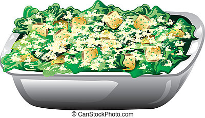 Illustration of a caesar salad