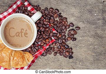Cafe Croissant Bread coffee bean