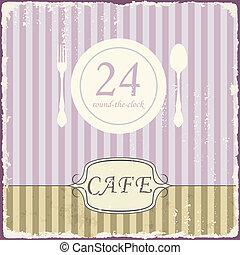 Cafe shop vintage retro template. Vector