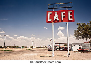 Cafe sign along historic Route 66 in Texas. Vintage Processing.