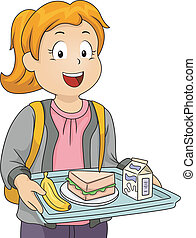 Illustration of a Litte Girl in a Cafeteria Carrying a Tray Holding Her Lunch