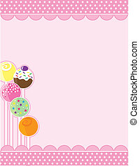 A pink background with top and bottom decorative borders. A stand of candy pops embellishes the left margin.