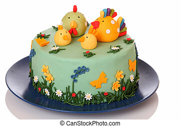 Sugar birthday cake with chicken, biddy and poult