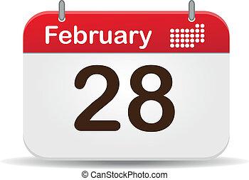 28 febrero calendar, white background