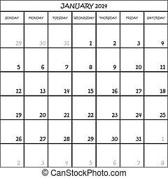 CALENDAR PLANNER MONTH JANUARY 2014 ON TRANSPARENT BACKGROUND