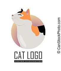 Calico cat breed. Cute tricolor cat standing with raised tail flat vector illustration isolated on white background. Purebred pet. Domestic friend and companion animal. For pet shop ad, hobby concept, breeding