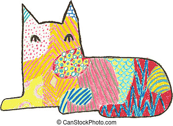 Vector style crayon design of a sitting cat