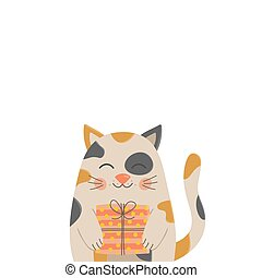 Funny birthday cat vector illustration. Hand drawn greeting card with cute calico kitten holding gift. Isolated.