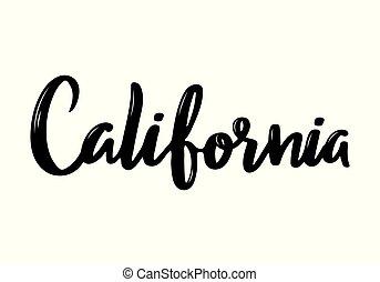 California handwritten calligraphy name of USA state. Hand drawn brush calligraphy. Vector Design Template.