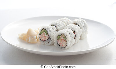 California roll in white background
