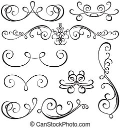 Calligraphic elements - black design elements, illustration vector