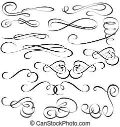Calligraphic elements - black design elements, vector