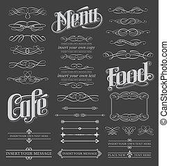 Calligraphy scroll design set. Vector illustration menu set.