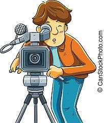 cartoon illustration of cameraman shoot the cinema with movie camera