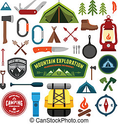 Set of camping equipment symbols and icons