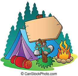 Camping wooden sign near tent - vector illustration.