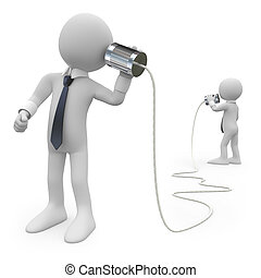 Businessmen talking on a homemade can phone. Image of two isolated white characters. Rendered on a white background with diffuse shadows.
