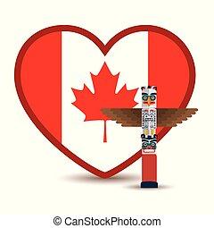 canada flag with heart shape