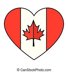 canadian flag with heart shape