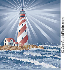 Illustration of a swirly striped lighthouse illuminating the night.