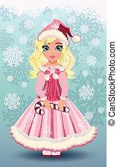 Candy little santa claus girl