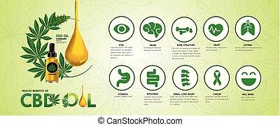 Cannabis benefits for health vector