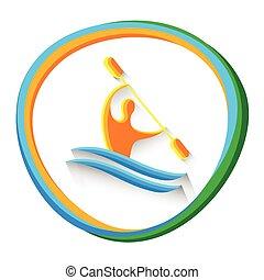 Canoe Slalom Athlete Sport Game Logo Competition Icon Vector Illustration