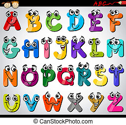 Cartoon Illustration of Funny Capital Letters Alphabet for Children Education