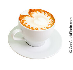 cappuccino. Cup of coffee on a white background (isolated with path).