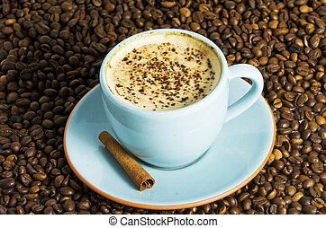 cappuccino on coffee background