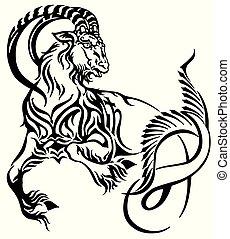 capricorn tribal tattoo