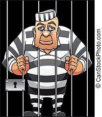 Captured danger prisoner in cartoon style for justice design