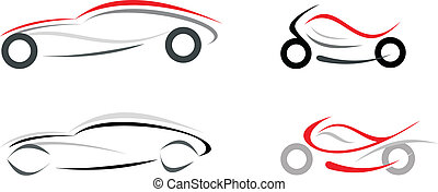 Motorcycle and sportive car on white background - vector isolated illustration. Can be used as logo or emblem. Modern vehicles.